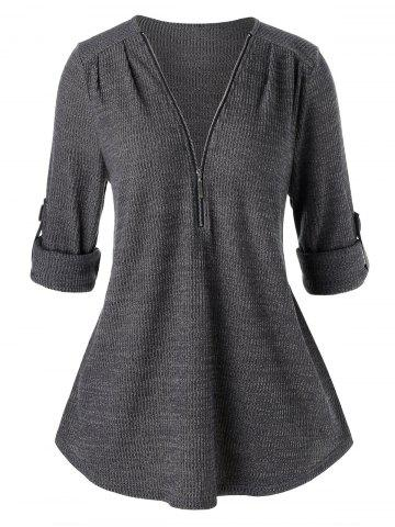 Plus Size Tunic Zippered Solid Sweater