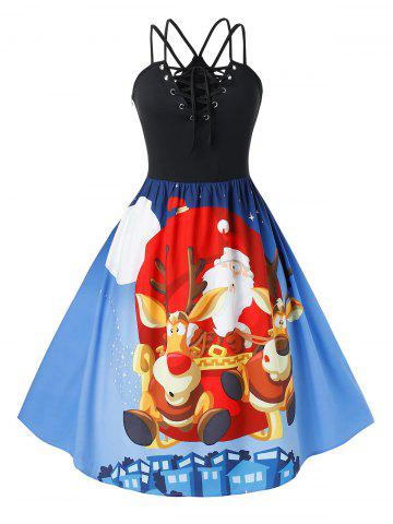 Plus Size Christmas Lace Up Printed Pin Up Dress - DODGER BLUE - 5X