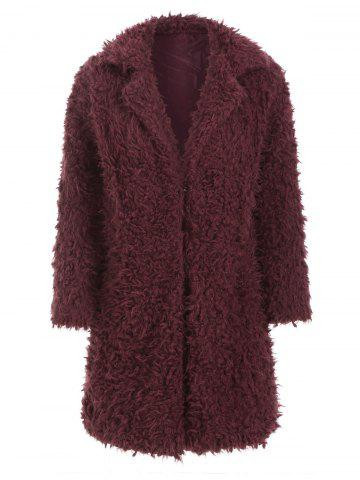 Hook-and-eye Fuzzy Faux Shearling Coat - RED WINE - M
