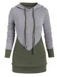 Drawstring Two Tone Marl Plus Size Hoodie -
