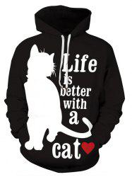 Plus Size Wolf Cat Print Graphic Hoodie -