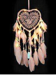 LED Light Handmade Heart Shape Feather Dream Catcher -