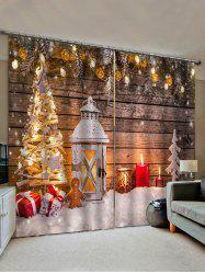 2 Panels Christmas Tree Wooden Board Print Window Curtains -