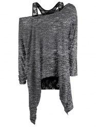 Marled Asymmetrical Sweater with Lace Tank Top -
