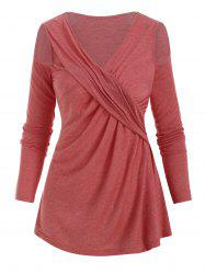 Open Shoulder V Neck Twisted T-shirt -