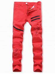 Destroyed Decoration Zipper Casual Jeans -