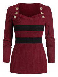 Two Tone Button Sweetheart Neck Sweater -