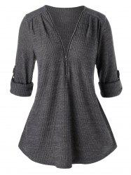 Plus Size Tunic Zippered Solid Sweater -