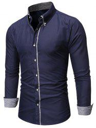 Checked Trim Button Up Long Sleeve Shirt -