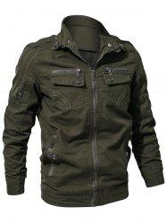 Multi Zip Pockets Zip Up Cargo Jacket -