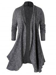 Plus Size Marled Open Front Tunic Cardigan -