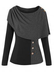 Plus Size Convertible Contrast Color Ribbed Knit Top -