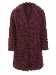 Hook-and-eye Fuzzy Faux Shearling Coat -