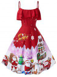 Plus Size Christmas Vintage Printed Party Dress -