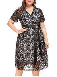 Plus Size Lace Midi Party Dress -