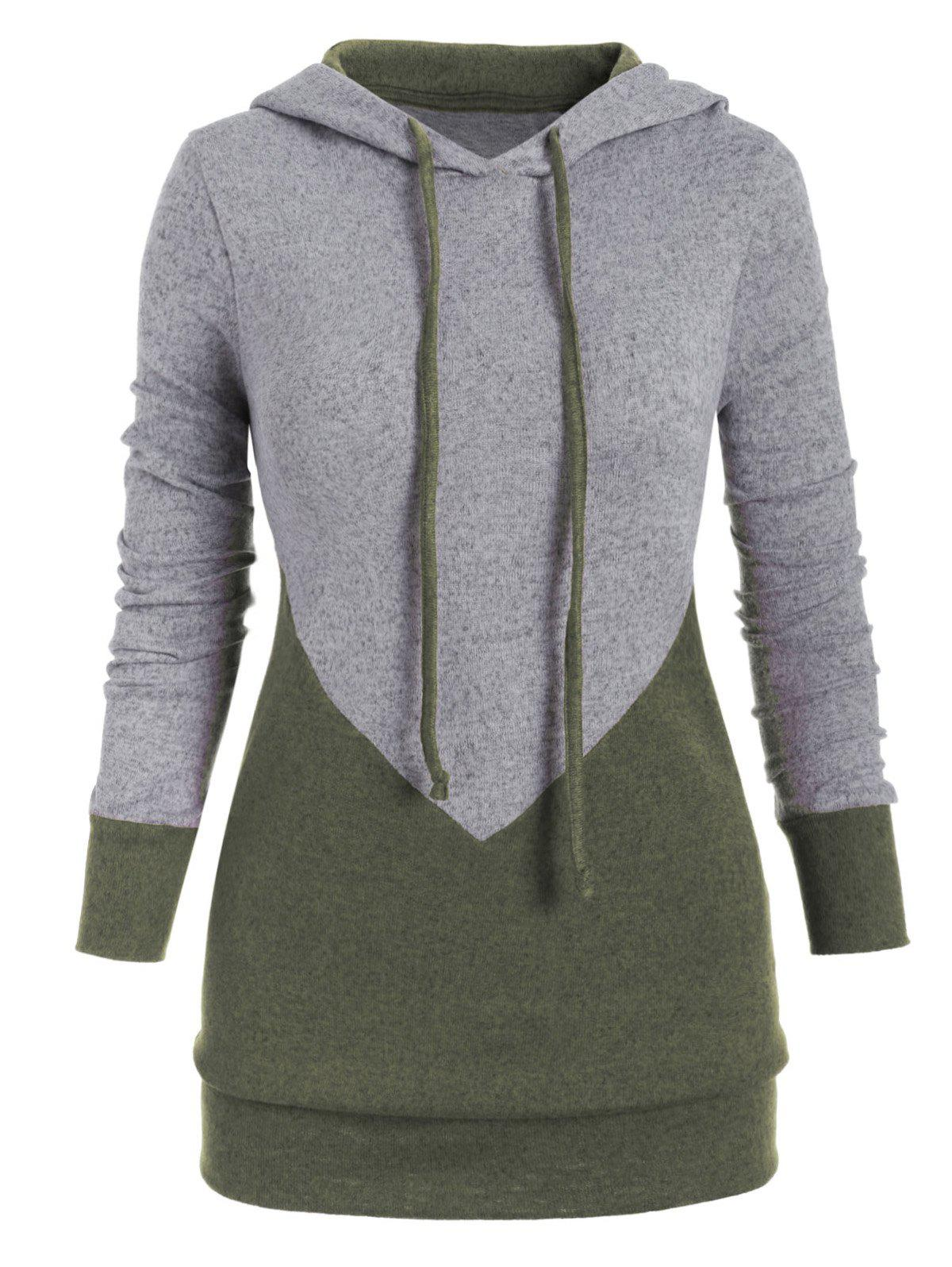 Chic Drawstring Two Tone Marl Plus Size Hoodie