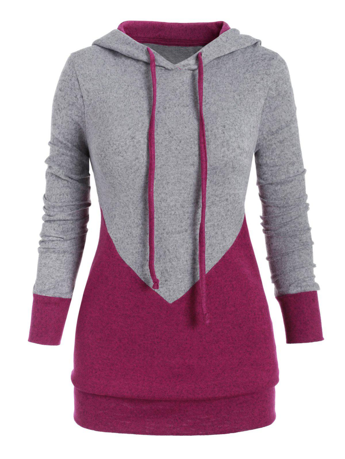 Outfit Drawstring Two Tone Marl Plus Size Hoodie