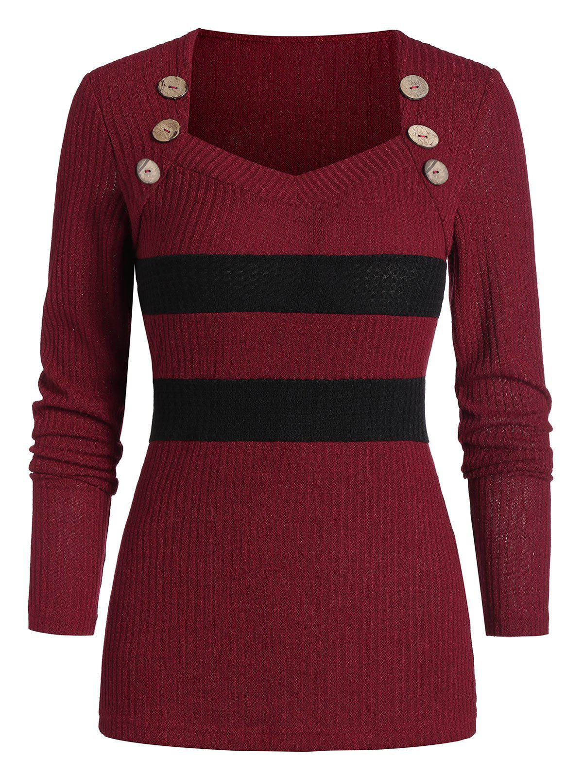 Unique Two Tone Button Sweetheart Neck Sweater