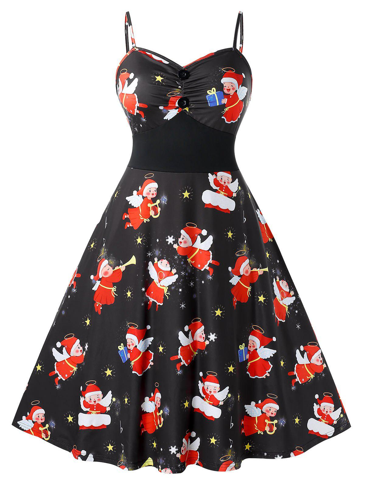 Hot Plus Size Christmas Vintage Angel Print Party Dress