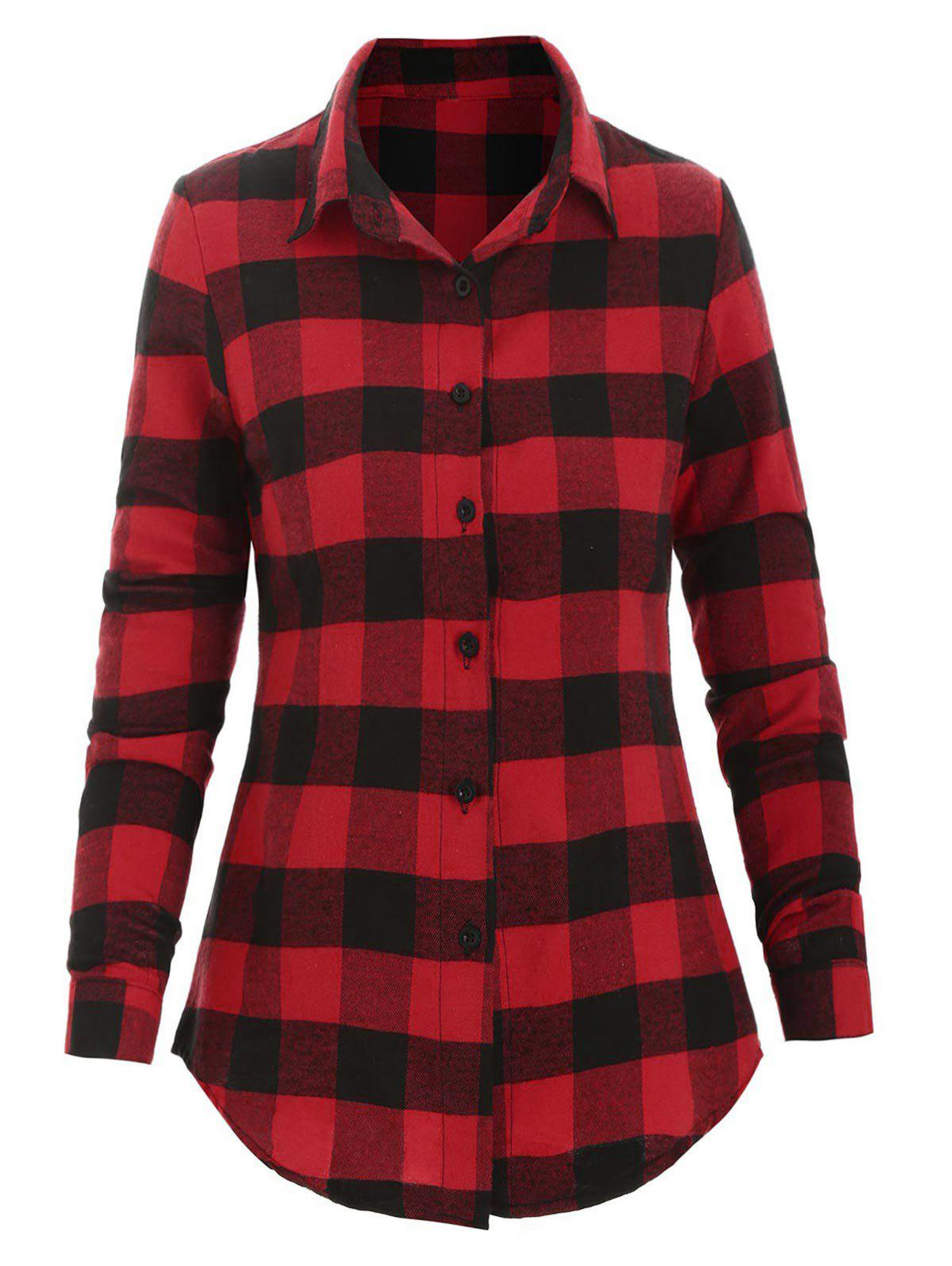 Chic Plaid Button Up Fitted Shirt