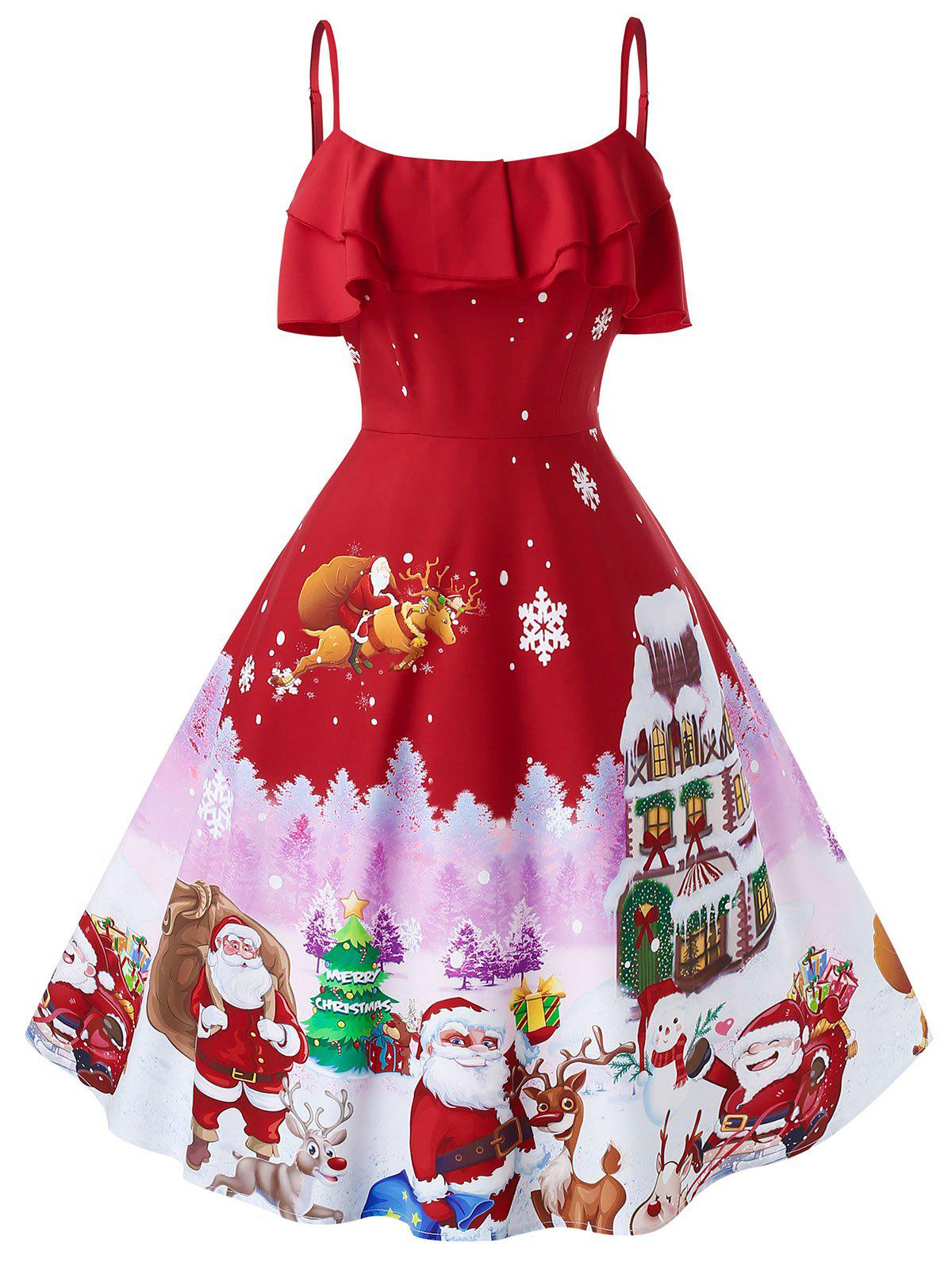 Plus Size Christmas Vintage Printed Party Dress Rosegal