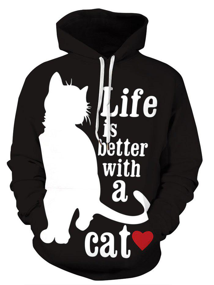 Sale Plus Size Wolf Cat Print Graphic Hoodie
