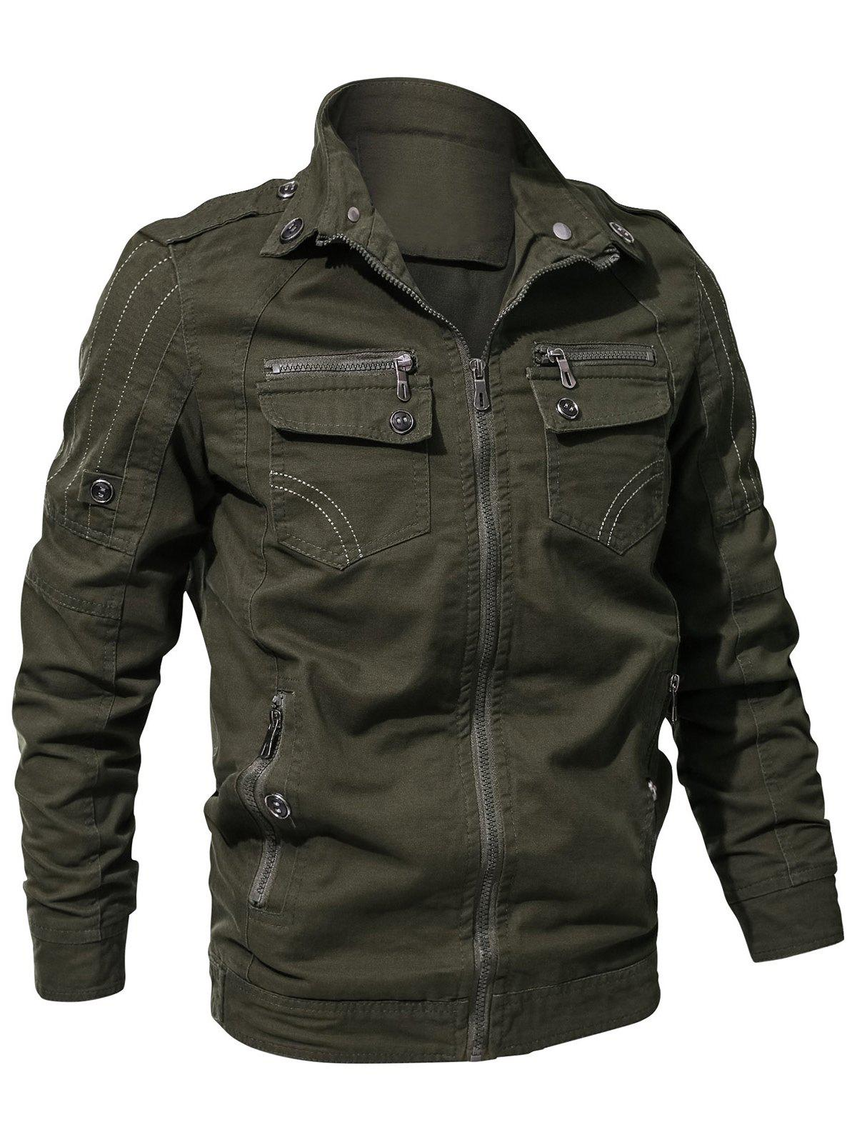 Trendy Multi Zip Pockets Zip Up Cargo Jacket