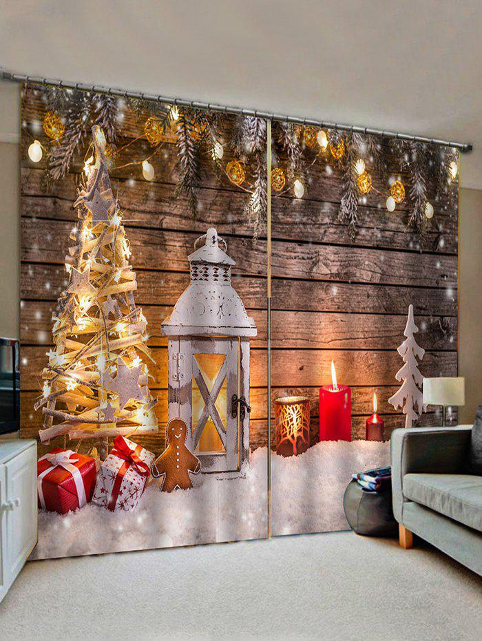 Fancy 2 Panels Christmas Tree Wooden Board Print Window Curtains