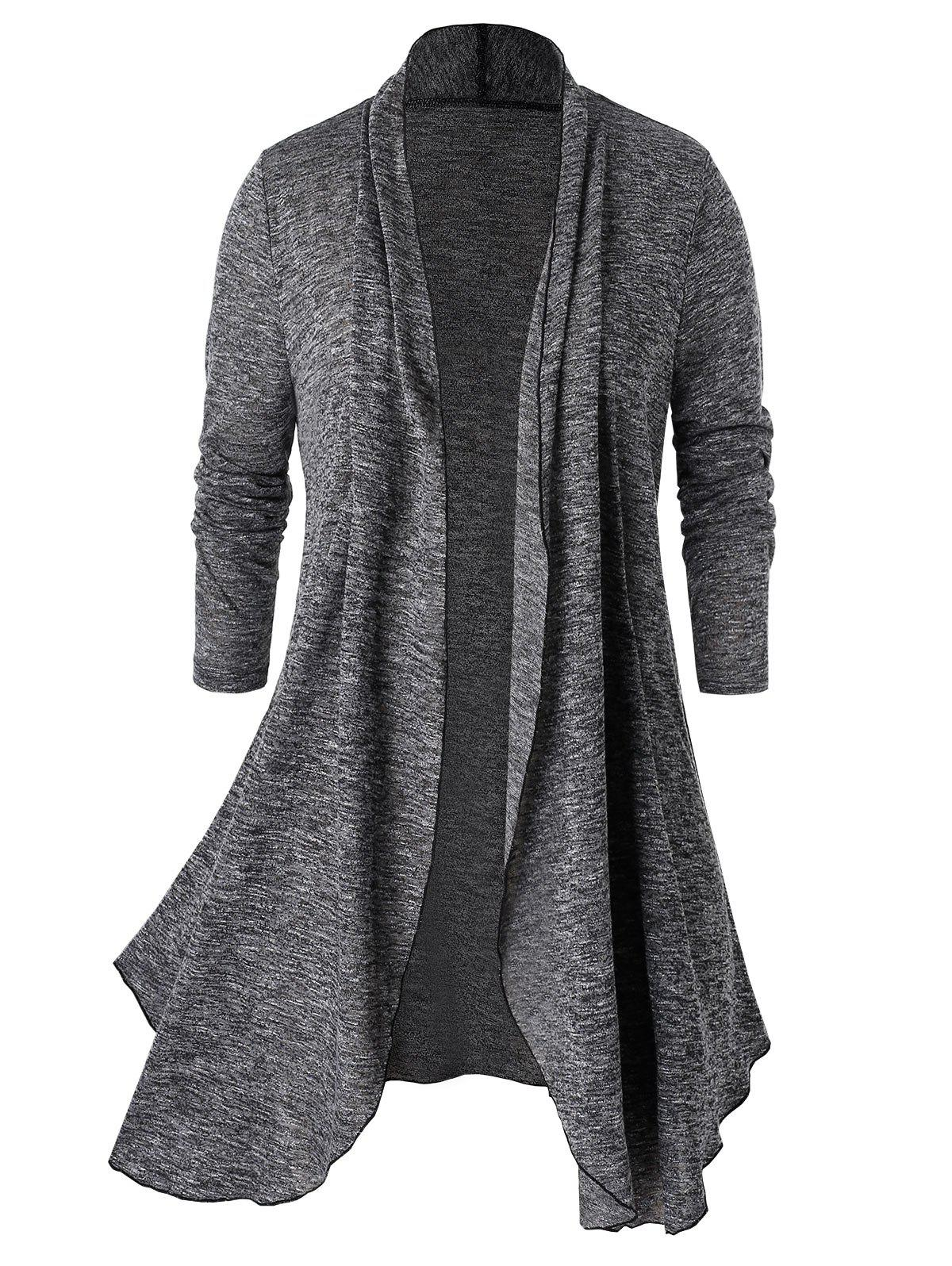Chic Plus Size Marled Open Front Tunic Cardigan
