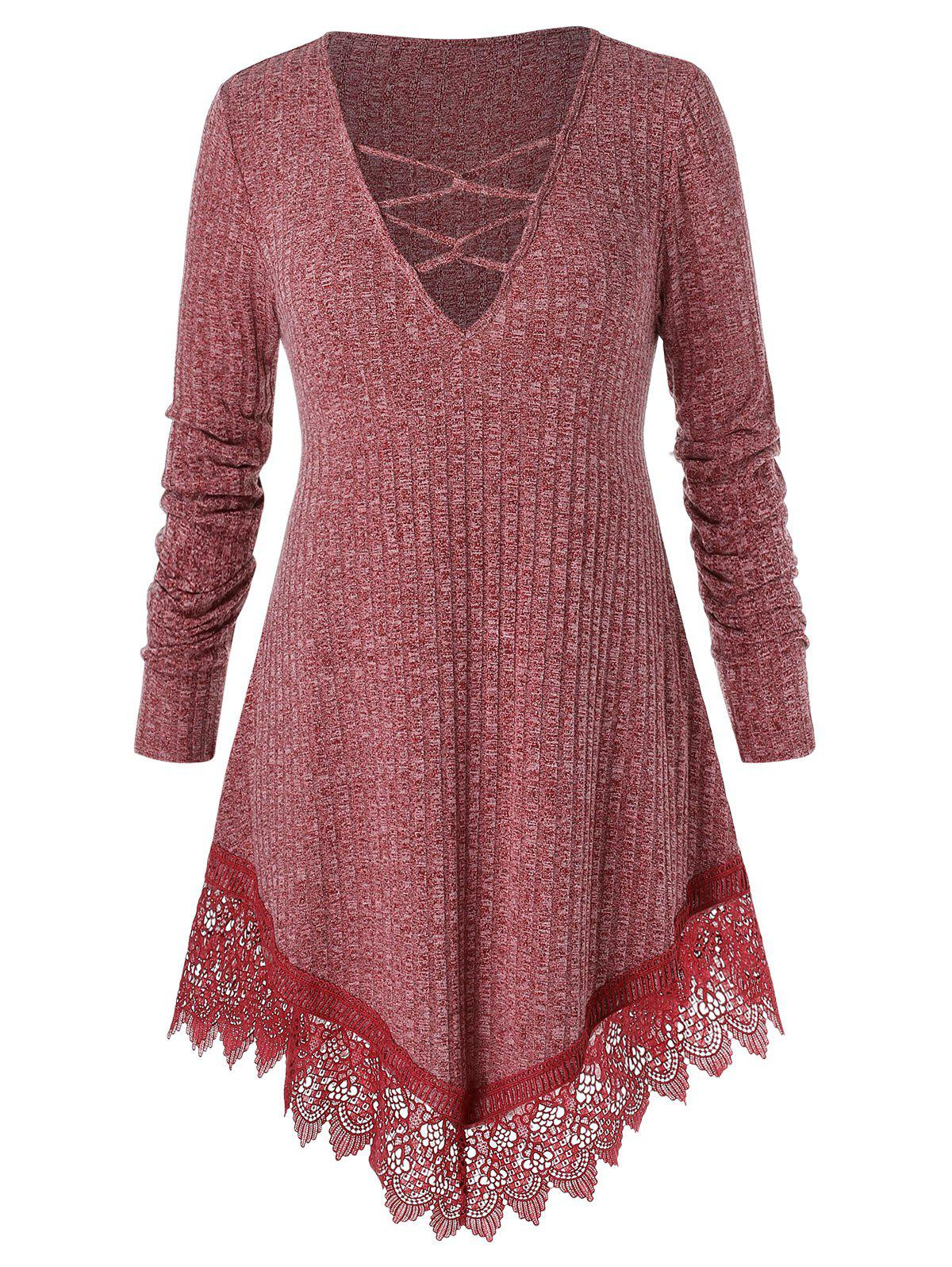 Plus Size Plunge Lace Insert Criss Cross Sweater Rosegal