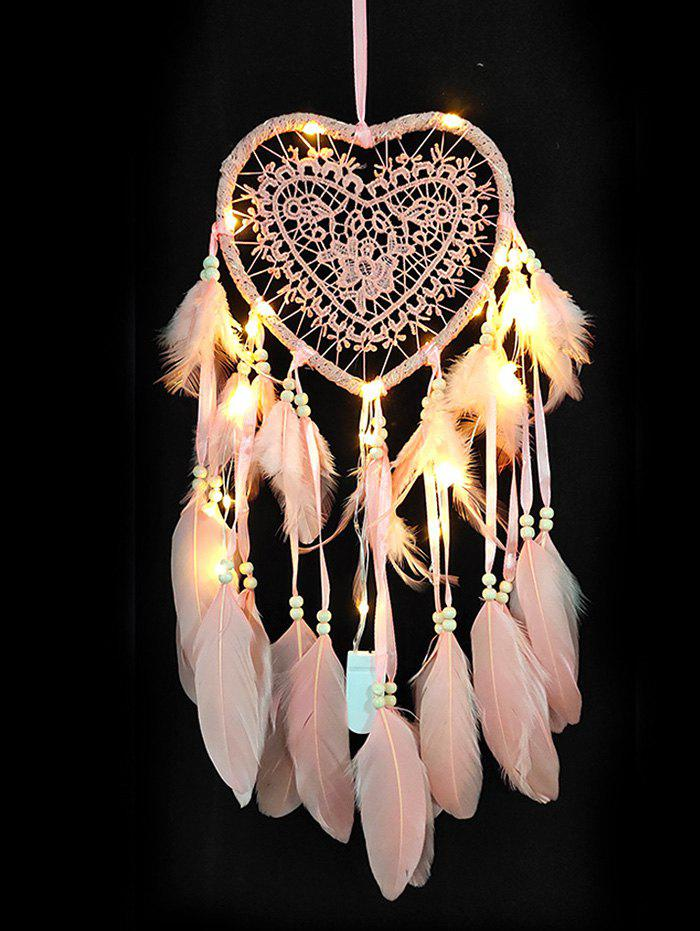 Shop LED Light Handmade Heart Shape Feather Dream Catcher