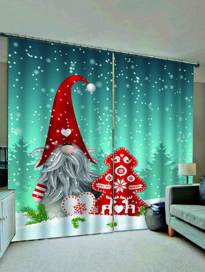 Outfits Christmas Santa Claus Snowflake Pattern Window Curtains
