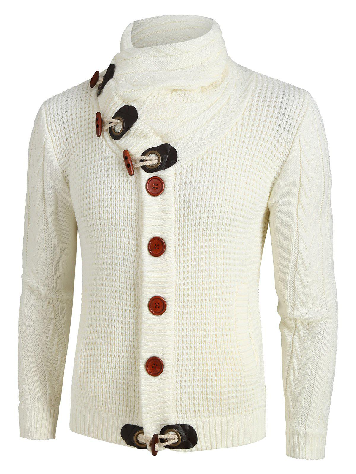 Shop Button Decoration Knitted Cardigan