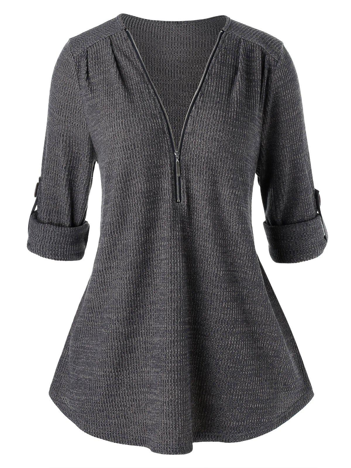 Chic Plus Size Tunic Zippered Solid Sweater
