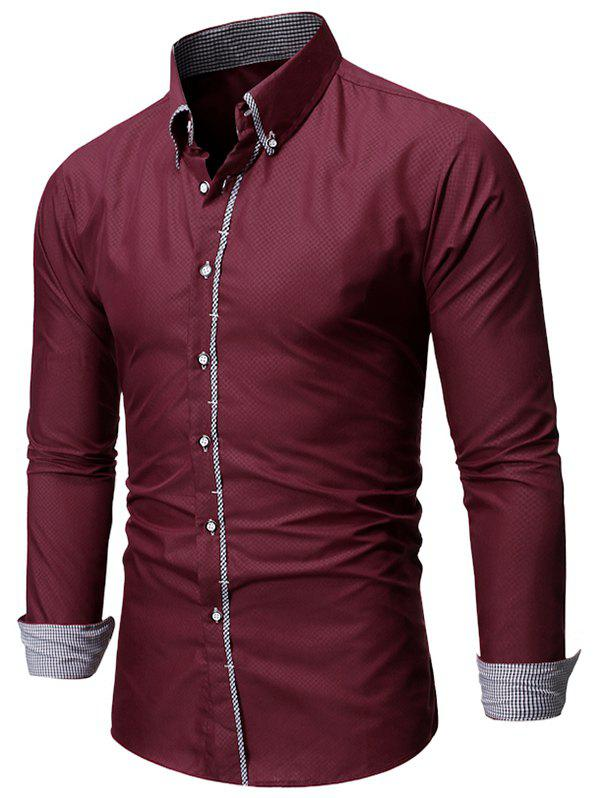 Fashion Checked Trim Button Up Long Sleeve Shirt