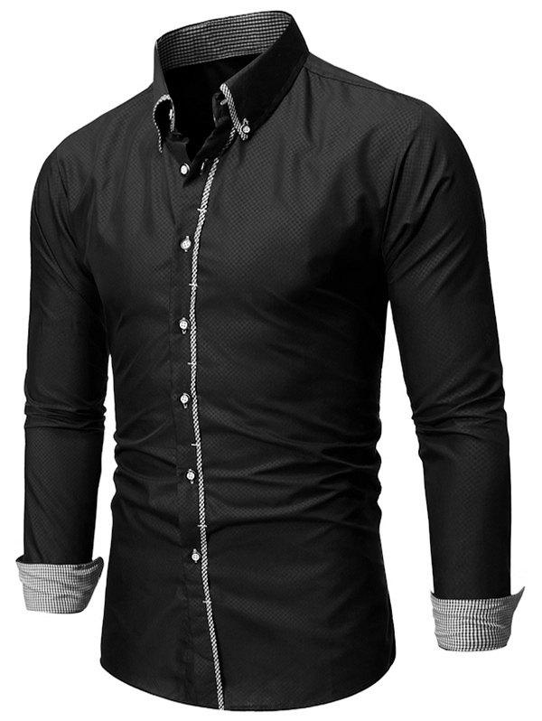 Cheap Checked Trim Button Up Long Sleeve Shirt