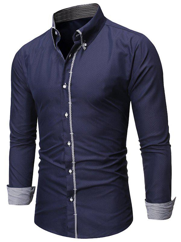 Unique Checked Trim Button Up Long Sleeve Shirt