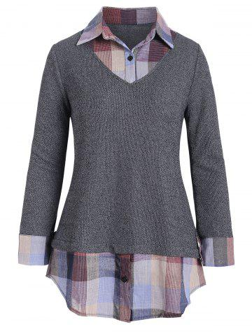 Plaid Panel Mixed Media Button Placket Knitwear