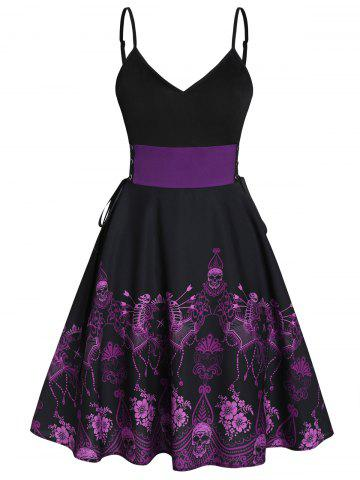 Skeleton Print Fit and Flare Lace Up Slip Dress