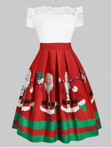 Christmas Santa Claus Floral Lace Off Shoulder Dress