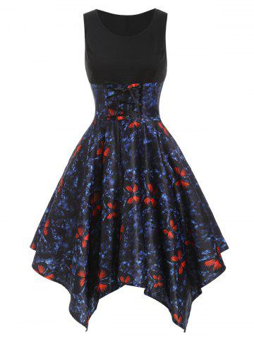 Butterfly Print Lace Up Asymmetrical Dress