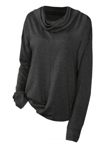 Cowl Neck Twist Hem Plus Size Sweatshirt