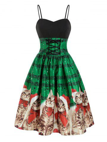 Christmas Cat Musical Note Lace Up Party Dress