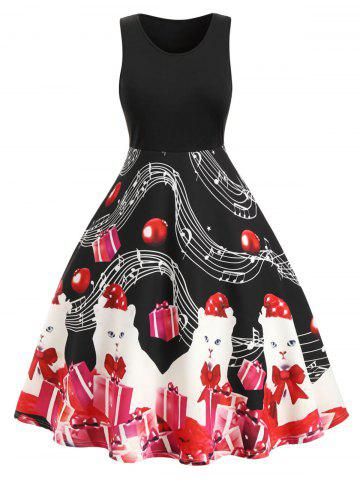 Plus Size Musical Note Cat Gift Print Fit and Flare Dress - BLACK - L