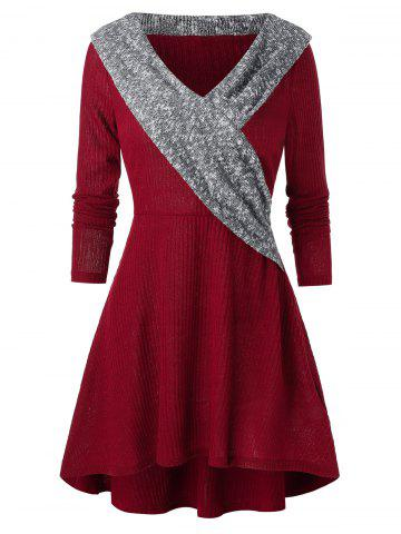 A Line Knitted V Collar Casual Dress