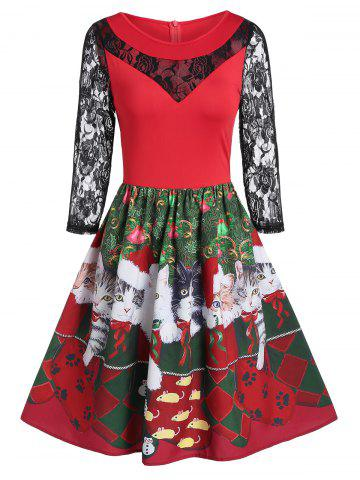 Lace Insert Fit And Flare Animal Print Christmas Dress