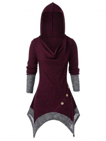 Plus Size Cowl Front Hooded Asymmetrical Tunic Knit Sweater - CHERRY RED - 5X