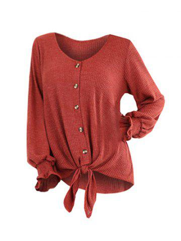 Plus Size V Neck Solid Button Sweater