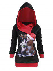 Plus Size Cat Graphic Hoodie de Noël - Noir 1X