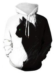 Plus Size 3D Cat Print Pullover Hoodie -
